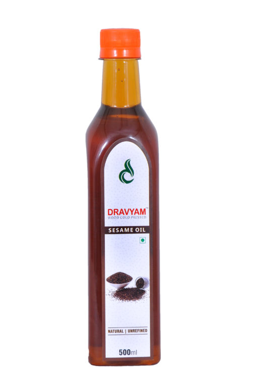 dravayam wood cold pressed sesame oil 500ml front scaled