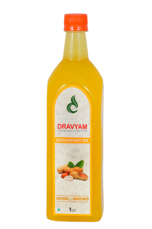 dravyam wood cold pressed groundnut oil 1ltr front scaled
