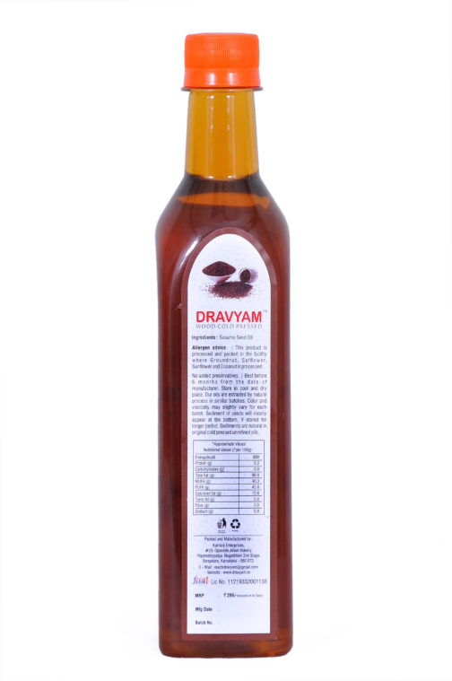 dravyam wood cold pressed sessame oil 500ml back scaled